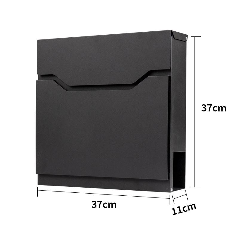 Black lockable post letter box in classic design
